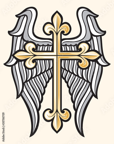 vector illustration of christian cross and wings