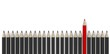 Leadership concept - row of gray pencils with red one