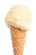 Nahaufnahme von Eistüte mit Vanilleeis