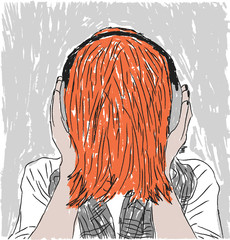 Unusual red-haired girl with headphones