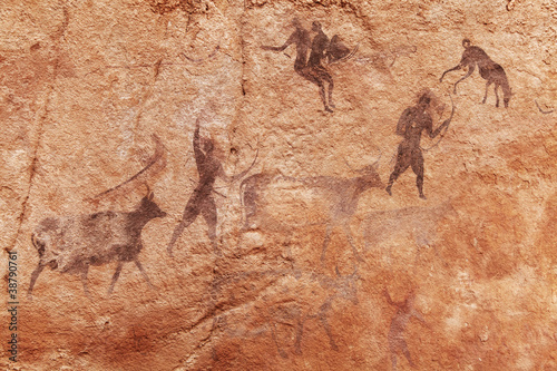 Deurstickers Algerije Rock paintings of Tassili N'Ajjer, Algeria