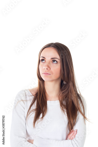 portrait of attractive teenage girl think looking up