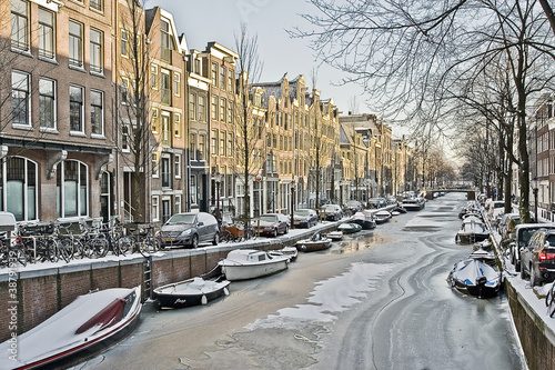 Poster Kanaal Winter in Amsterdam