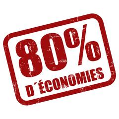 Grunge Stempel rot 80% DÉCONOMIES