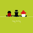 "Sitting Ladybug, Chimney Sweeper & Fly Agaric ""Happy Birthday"""