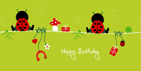 "2 Sitting Ladybugs & Symbols ""Happy Birthday"""