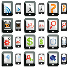 A set of touchscreen device app icons