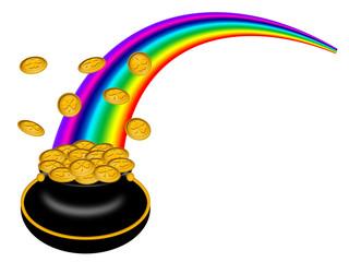 Saint Patricks Day Pot of Gold with Rainbow