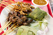 Chicken and Lamb Satay Skewers with Ketupat Rice