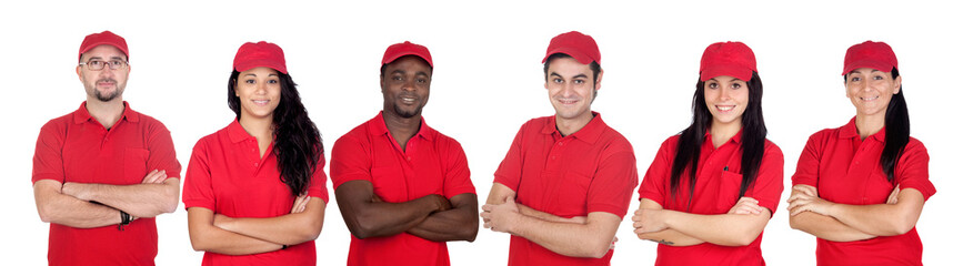 Team of workers with red uniform