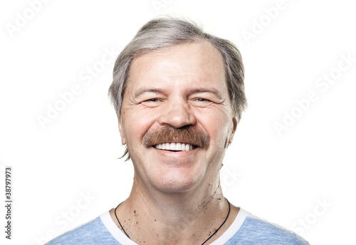 portrait of laughing cheerful mature man isolated on white