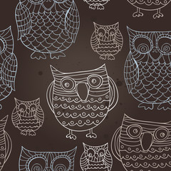 svector seamless pattern with owles
