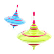 Two kinds of colorful glossy whirligigs isolated