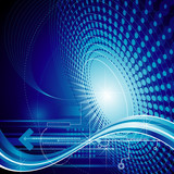 Technology abstract composition blue background.