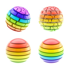 Set of four colorful segmented spheres isolated