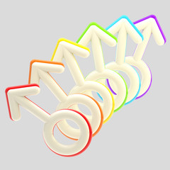 Gay community emblem made of rainbow male signs