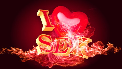 TV screen saver with beautiful titles about sex