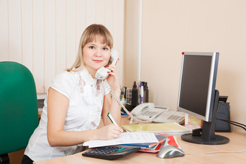businesswoman  speaking by telephon