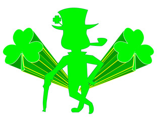 Leprechaun with Beveled Shamrocks! eps8 / jpeg