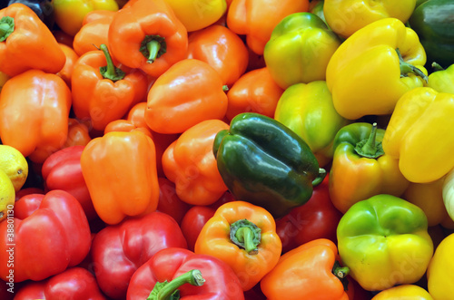 close up of colorful peppers
