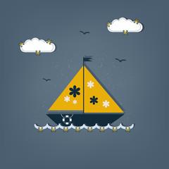 cartoon boat - scrap elements