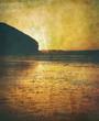 retro beach sunset