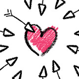 Valentines day concept illustration, arrows and heart. Vector.