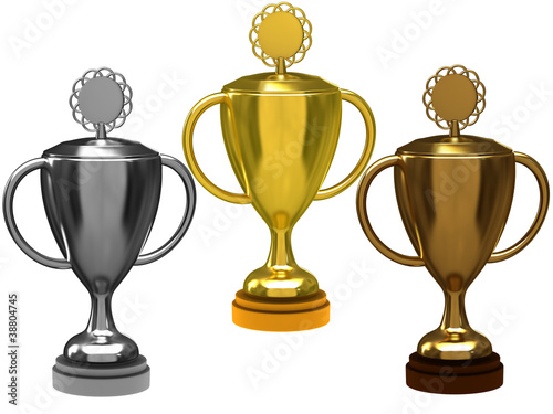 Trophy cups on a white background