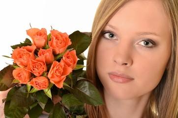 femme et roses
