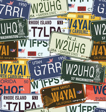 Seamless Background - Retro placas de licencia Auto