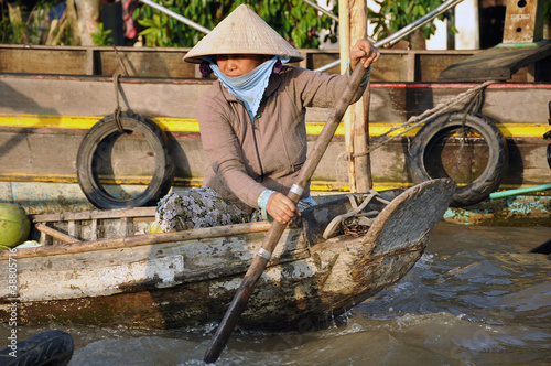 Vietnam, floating market, woman, Asien