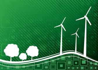 Ecology concept. Renewable energies - wind turbines