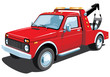 Vector isolated red tow truck