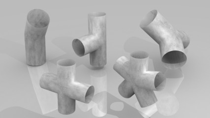 Pipe joints set of raw steel