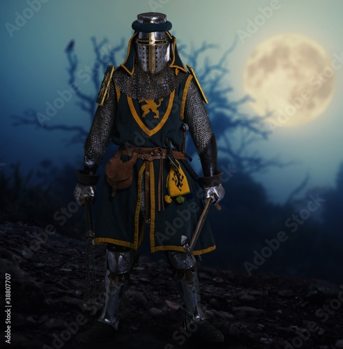 Knight against spooky landscape.