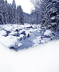 winter river and snow border - empty space for text