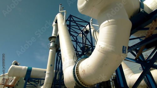 Stock Video Footage of a desalination plant's white pipes in Israel.