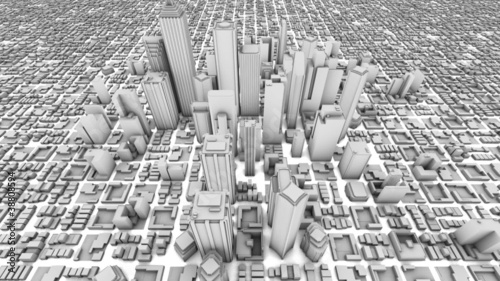 City Office Buildings Growing Time-lapse (3D)