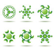 Set of green logos or design elements