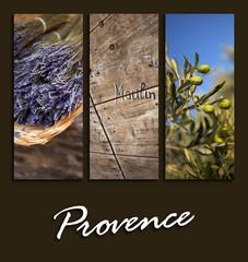 Provence, carte postale, sud, France, olivier, lavande