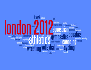 """""""LONDON 2012"""" Tag Cloud (sporting competition gold medal)"""