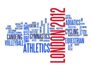 """""""LONDON 2012"""" Tag Cloud (sports disciplines sporting event)"""