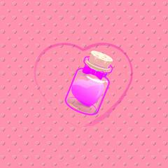 pink heart in bottle No2