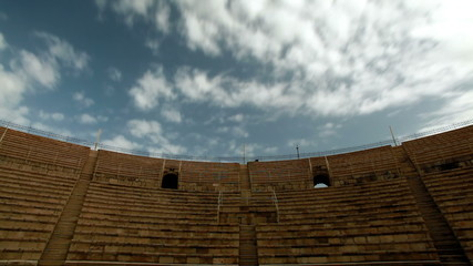 Stock Video Footage of clouds moving over the theater at Caesarea in Israel.