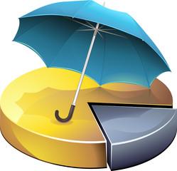 Statistiques en or sous un parapluie bleu (détouré)