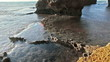 Stock Video Footage of the rocky shore of Dor Beach in Israel.
