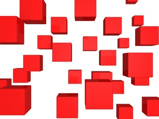 abstract flying red cubes background