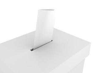 Ballot vote box with bulletin on white