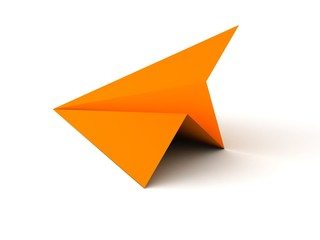 Orange paper airplane on white background