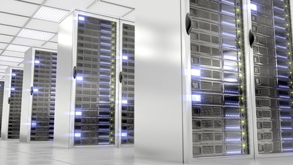Data room full of servers. Loopable animation.